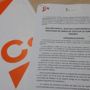 Ciudadanos (Cs) Pinto insta al Ayuntamiento a exigir a la Comunidad de Madrid que dé cumplimiento a la Ley de Gratuidad de Libros de Texto